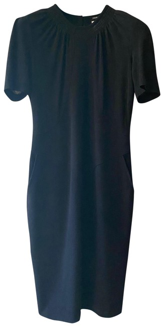 Item - Black Sleeve Sectioned Wool with Gathering Detail At Neck Mid-length Short Casual Dress Size 4 (S)