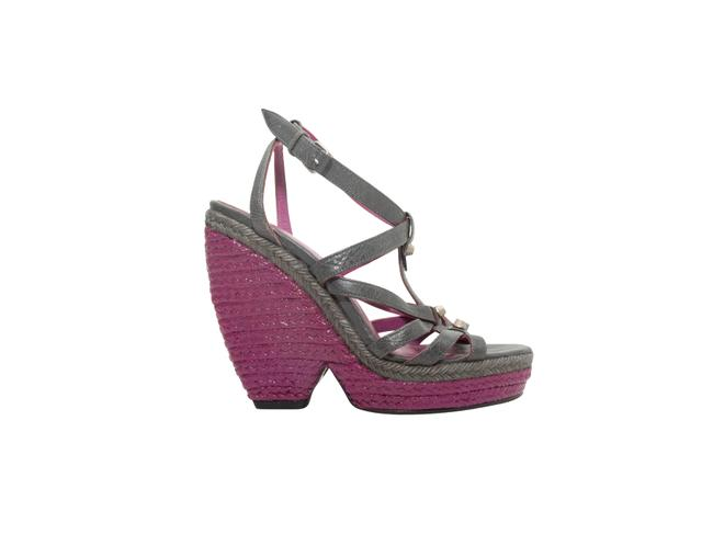 Item - Purple Grey and Painted Espadrille Wedges Size US 8 Regular (M, B)