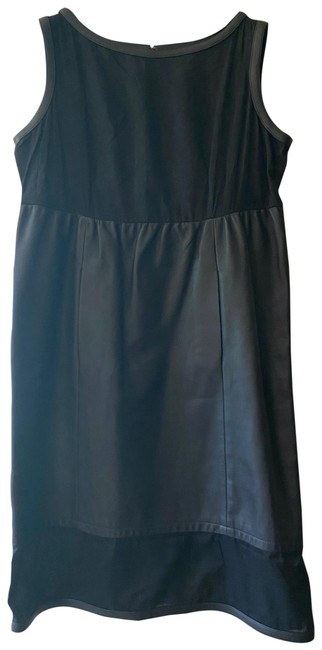 Item - Black Sleeveless Cotton Top Lambskin Leather Mini In Mid-length Short Casual Dress Size 6 (S)
