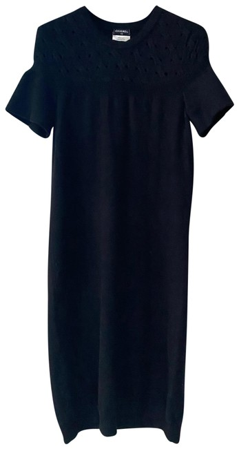 Item - Black Sleeve Wool Sweater Slip On with Stitching Detail Mid-length Short Casual Dress Size 4 (S)