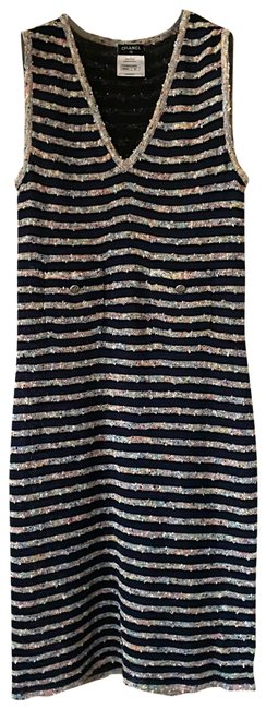 Item - Blue Fitted Striped Tweed Sleeveless V Neck Slip On In Navy Mid-length Short Casual Dress Size 8 (M)