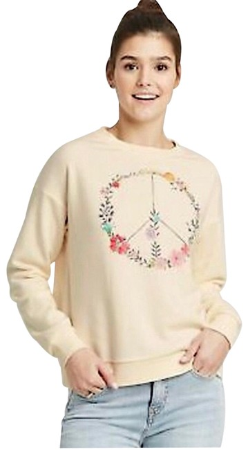 Item - Butter Ivory Floral Boho Peace Sign Graphic Sweatshirt/Hoodie Size 12 (L)