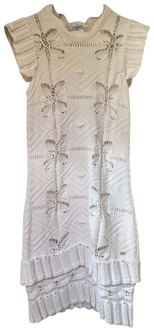 Item - White Crochet Sweater In Mid-length Short Casual Dress Size 6 (S)