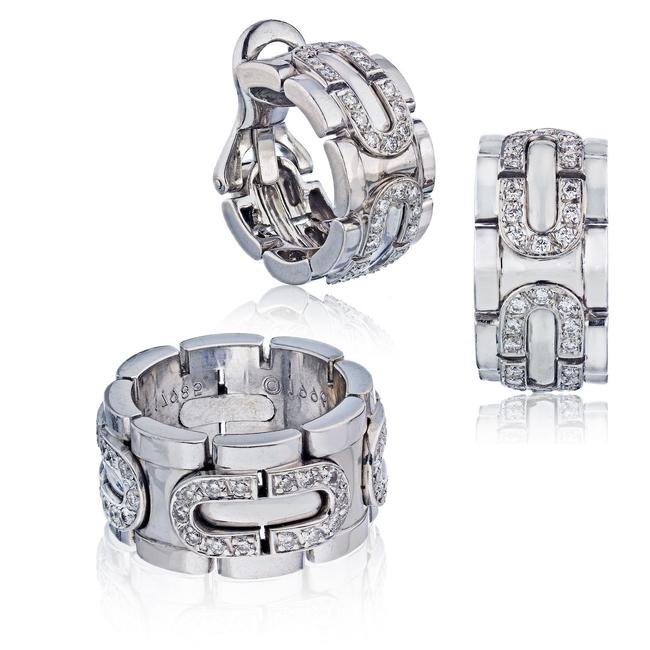 Item - 18k White Gold Panthere Maillon Earring and A Diamond Set Ring
