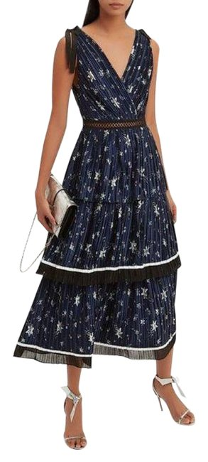 Item - Blue Pleated Floral In Long Night Out Dress Size 8 (M)