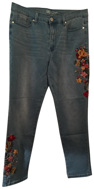 Item - Light Wash Dg2 Chambray Embroidered Skinny Jeans Size 14 (L, 34)