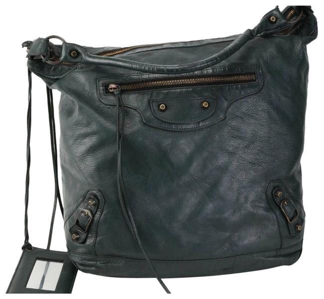 Item - Day Pebbled Leather Zipper Slouchy Green Shoulder Bag
