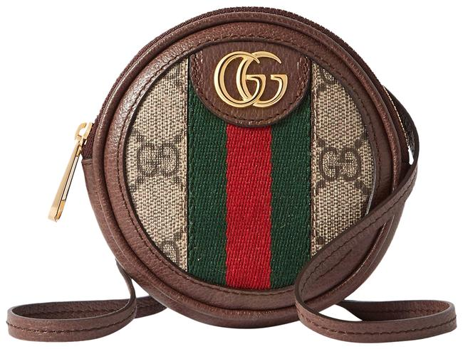 Item - Marmont Ophidia Circle Mini Textured Leather-trimmed Printed Coated-canvas Sho Brown Canvas Cross Body Bag