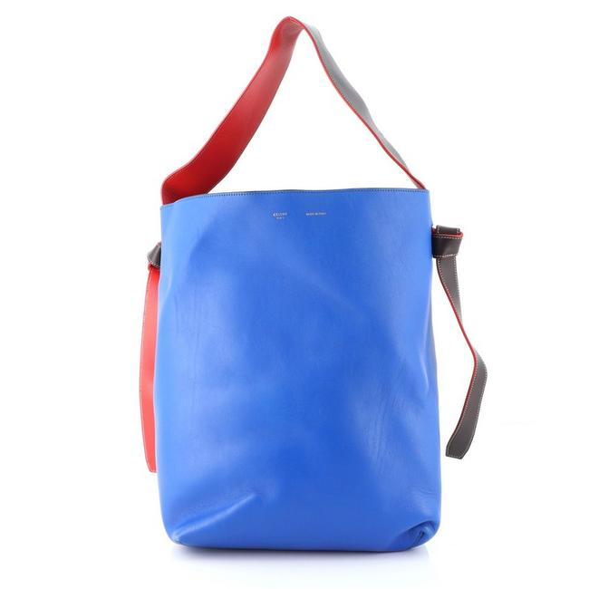 Item - Twisted Cabas Calfskin Small Blue Multicolor Red Leather Tote