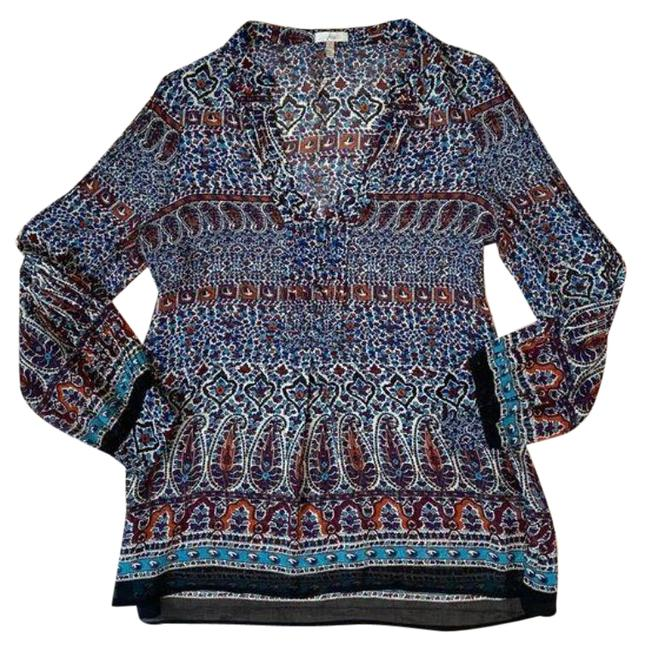 Item - Blue Red Paisley Graphic Print Long Sleeve Silk Blouse Size 4 (S)
