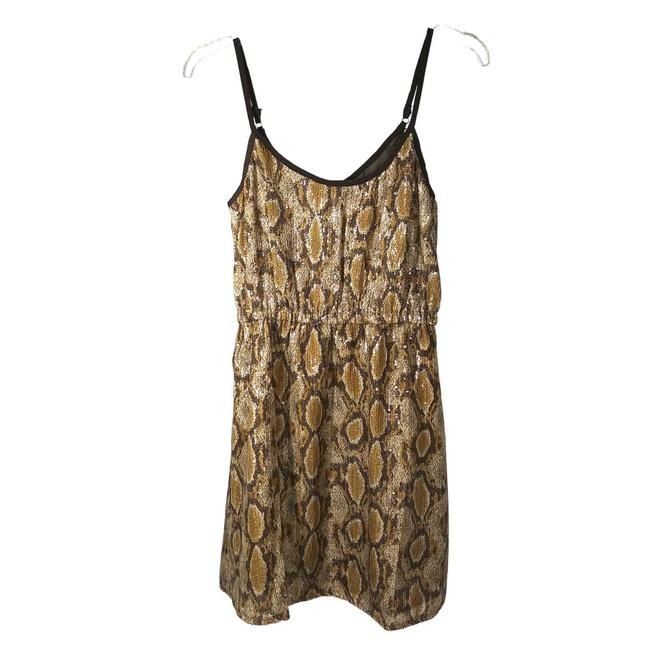 Item - Brown Sequined Snakeskin Small Short Cocktail Dress Size 6 (S)