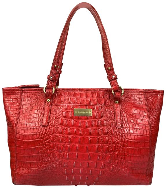 Item - Chutney Red Embossed Leather Tote