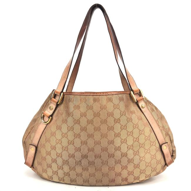 Item - Bag Womens Brown Polyester / Patent Leather Bamboo Handbag / Gold Gg Supreme Canvas Tote