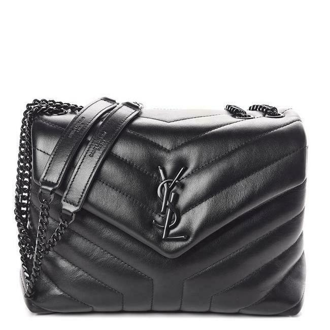Item - Monogram Loulou Noir Calfskin Y Quilted Monogram Small Chain Satchel Black Leather Tote