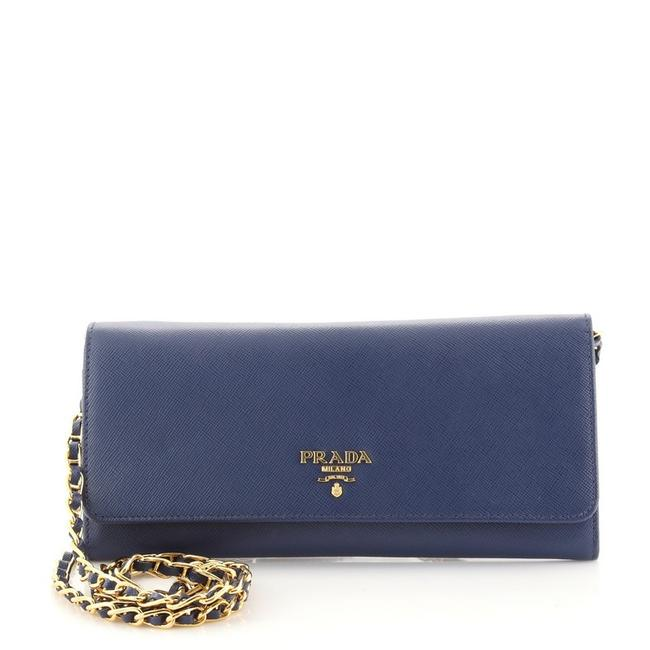Item - Wallet on Chain Saffiano Blue Leather Clutch