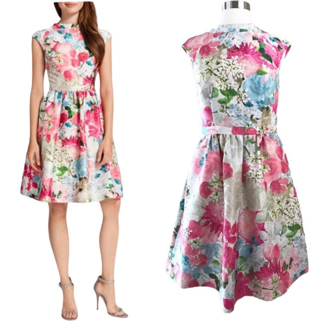 Item - Pink Floral Jacquard Peony Fit Flare Mid-length Cocktail Dress Size 6 (S)