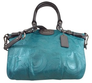 Coach Satchel in Turquoise/Grey