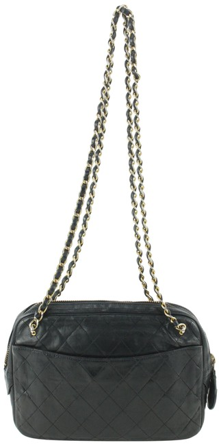Item - Camera Quilted 492cas67 Black Lambskin Leather Cross Body Bag