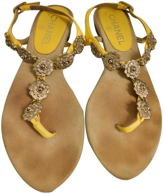 Item - Yellow Leather Gold Camellia Flower Flat Slingback Italy Sandals Size EU 35.5 (Approx. US 5.5) Regular (M, B)