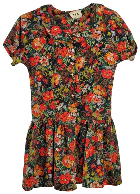 Item - Red Bcbg Floral Tiered Ruffle Blouse Size 8 (M)