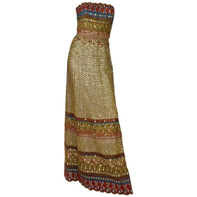 Item - Gold/Multi Iconic Sequin Gown As Seen On Nicole Long Night Out Dress Size 6 (S)