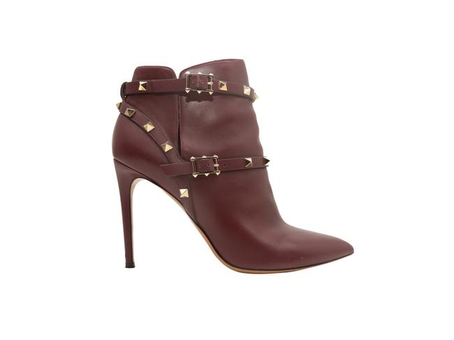 Item - Burgundy Pointed Leather Toe Leather Rockstud Boots/Booties Size US 10 Regular (M, B)