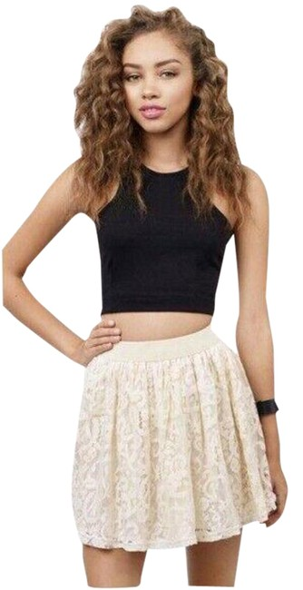 Item - Cream Lace Elastic Waist Lined Neutral Skater Small Skirt Size 4 (S, 27)