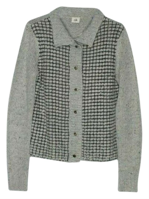 Item - Gray Square Stitch Snap Front Cardigan Size 4 (S)
