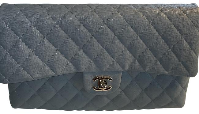 Item - Timeless In with Light Gold Hardware Gray Caviar Leather Clutch