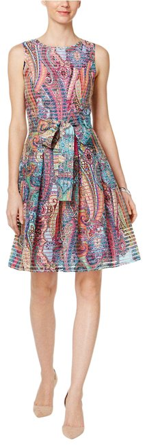 Item - Pink Blue Multicolor Paisley Print Sleeveless Belted Fit & Flare Mid-length Cocktail Dress Size 6 (S)