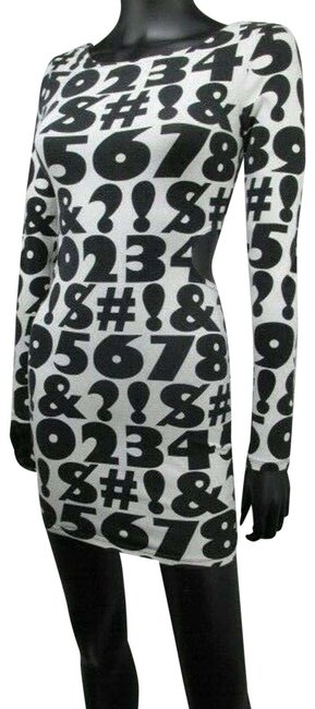 Item - White Numbers Graphic Cut Out Womens Short Casual Dress Size 6 (S)