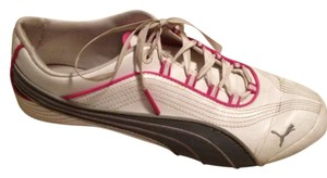 Puma White, Gray, and Pink Athletic