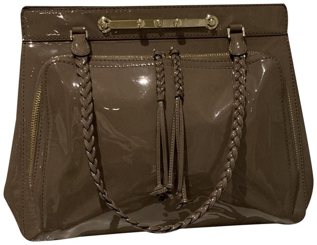 """Item - Soft Luxurious Italian """"Putty"""" Color Putty (Mauve Taupe Brown) Patent Leather Shoulder Bag"""