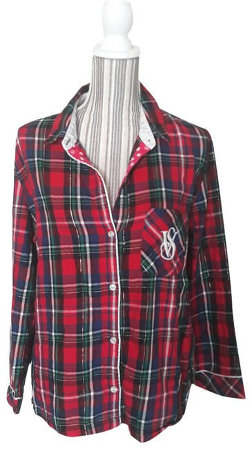 Item - Red Plaid Matching Pajama Set with Monogram Button-down Top Size 8 (M)