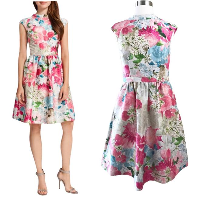 Item - Pink Floral Jacquard Peony Fit & Flare Mid-length Cocktail Dress Size 6 (S)