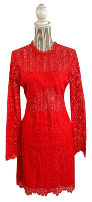 Item - Red Lace Mid-length Cocktail Dress Size 12 (L)
