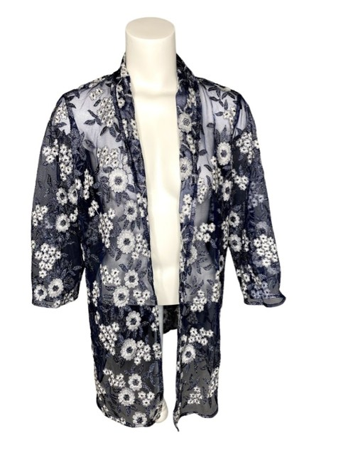 Item - Navy Ivory Silver Sheer Embroidered Floral 3/4 Sleeve Overlay Jacket Size 8 (M)