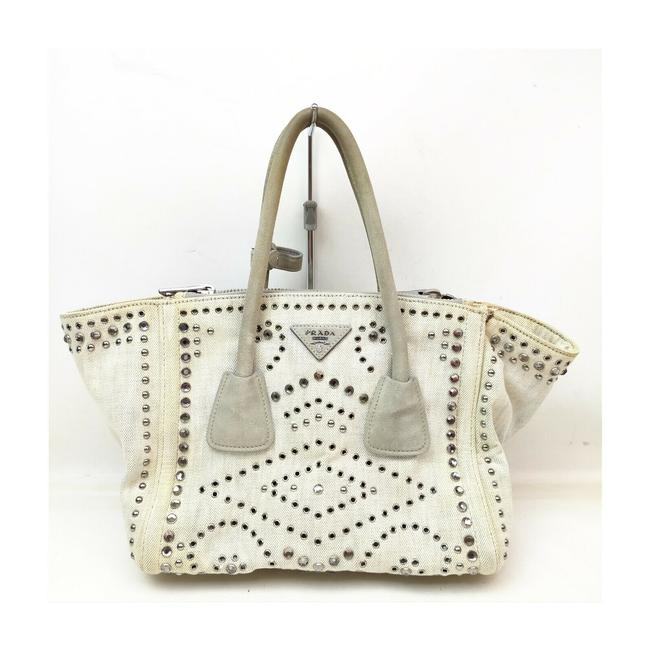 Item - Lux Bag Off-white Studded Luxe 863350 Cream Canvas Tote