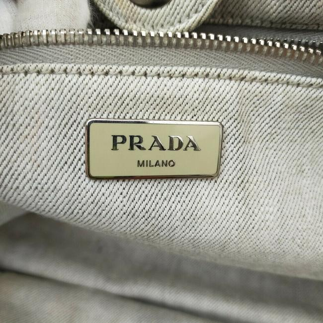 Prada Lux Bag Off-white Studded Luxe 863350 Cream Canvas Tote Prada Lux Bag Off-white Studded Luxe 863350 Cream Canvas Tote Image 2
