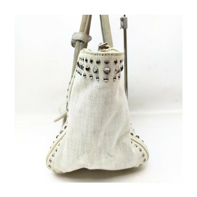 Prada Lux Bag Off-white Studded Luxe 863350 Cream Canvas Tote Prada Lux Bag Off-white Studded Luxe 863350 Cream Canvas Tote Image 5