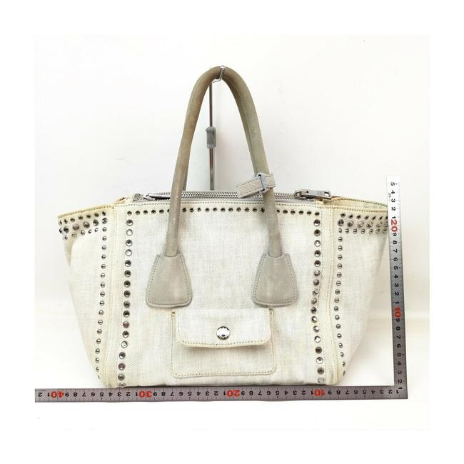 Prada Lux Bag Off-white Studded Luxe 863350 Cream Canvas Tote Prada Lux Bag Off-white Studded Luxe 863350 Cream Canvas Tote Image 6