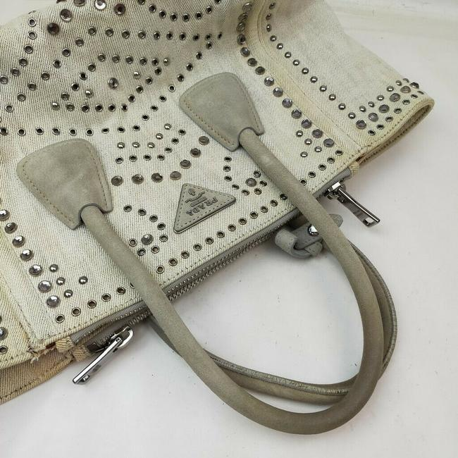 Prada Lux Bag Off-white Studded Luxe 863350 Cream Canvas Tote Prada Lux Bag Off-white Studded Luxe 863350 Cream Canvas Tote Image 7