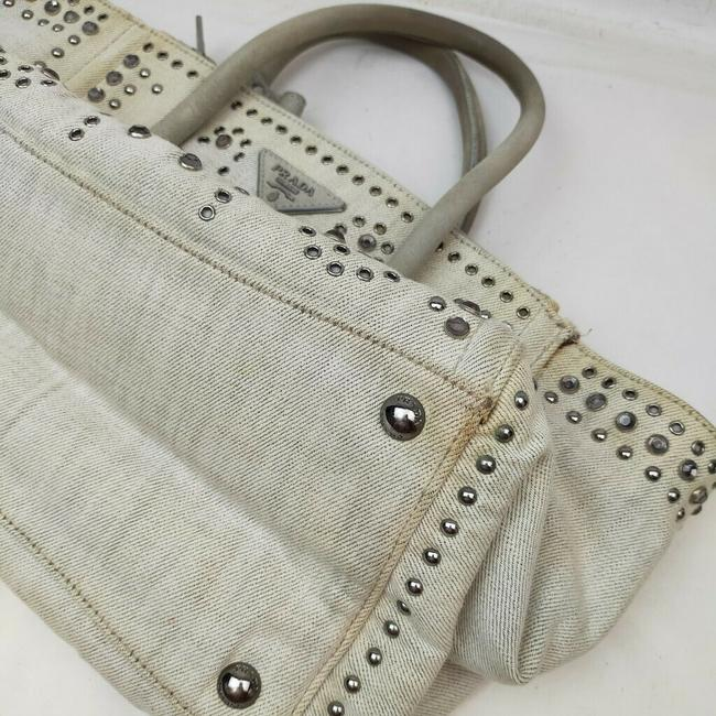 Prada Lux Bag Off-white Studded Luxe 863350 Cream Canvas Tote Prada Lux Bag Off-white Studded Luxe 863350 Cream Canvas Tote Image 9