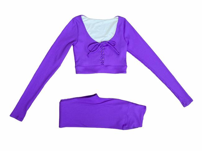 Item - Purple W Ribbed Christy Lace Up Thumb Holes & Leggings Set Activewear Top Size 4 (S)