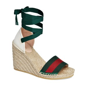 Gucci Wedge White/ Green/ Red Sandals