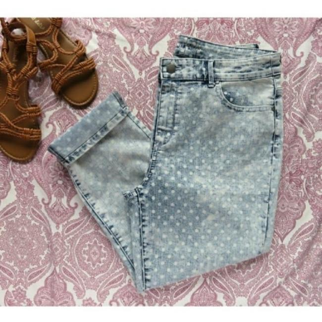 Item - Blue and White Acid Ombre Platinum Polka Dot Print Ankle Stretch Summer Capri/Cropped Jeans Size 33 (10, M)