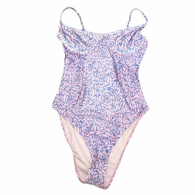 Item - Blue and Pink Rose Swimsuit One-piece Bathing Suit Size 4 (S)