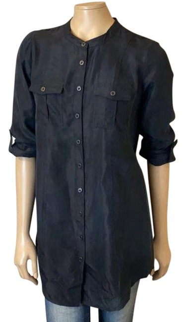 Item - Black Blouse Roll Tab M Button-down Top Size 8 (M)