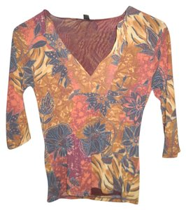 Weston Wear Nylon Fall Floral Autumnal T Shirt Brown