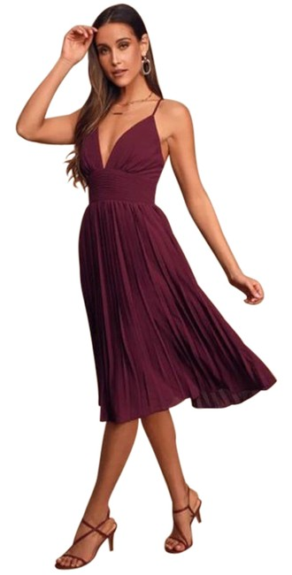 Item - Purple Red Love Me To The Moon Mid-length Cocktail Dress Size 0 (XS)